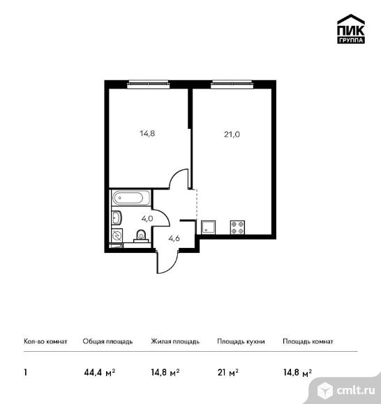 1-комнатная квартира 44,4 кв.м. Фото 1.