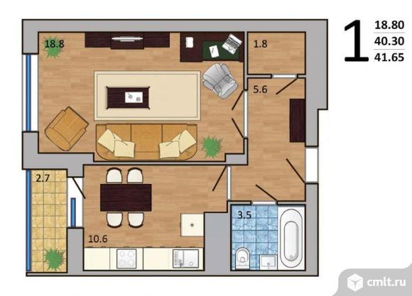 1-комнатная квартира 41,65 кв.м. Фото 2.