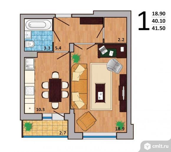 1-комнатная квартира 41,5 кв.м. Фото 2.