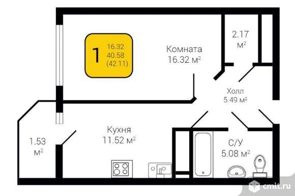 1-комнатная квартира 42,11 кв.м. Фото 2.