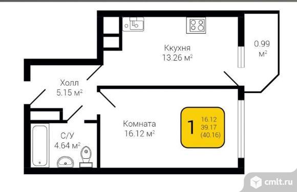 1-комнатная квартира 40,16 кв.м. Фото 2.