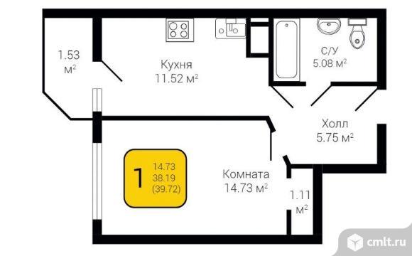 1-комнатная квартира 39,72 кв.м. Фото 2.