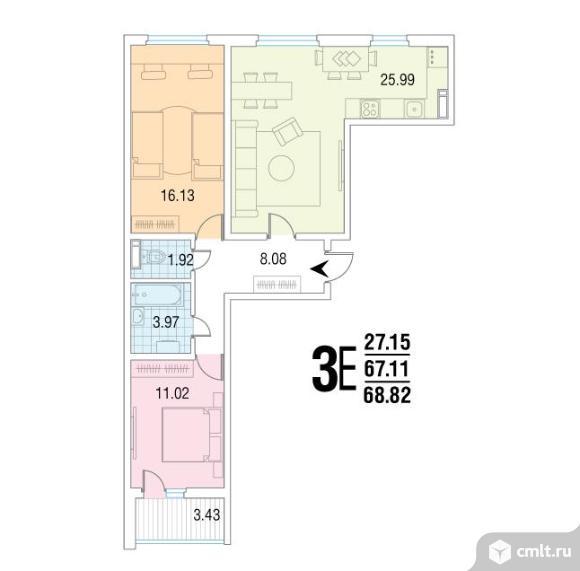 3-комнатная квартира 68,82 кв.м. Фото 1.