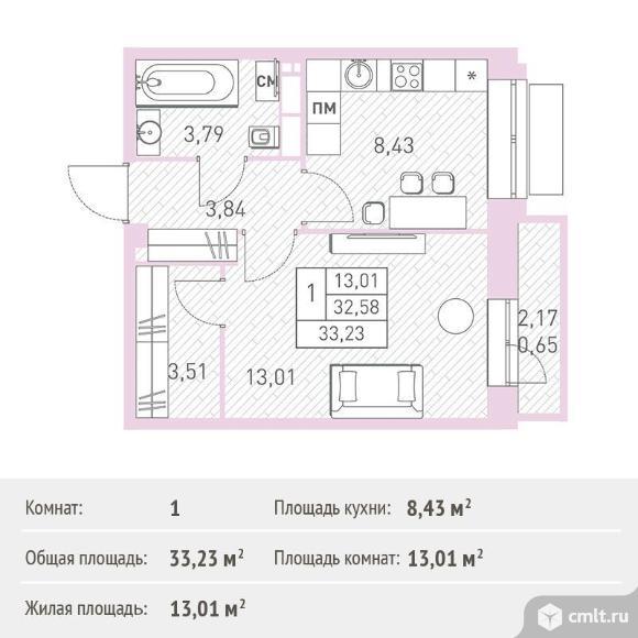 1-комнатная квартира 33,23 кв.м. Фото 1.