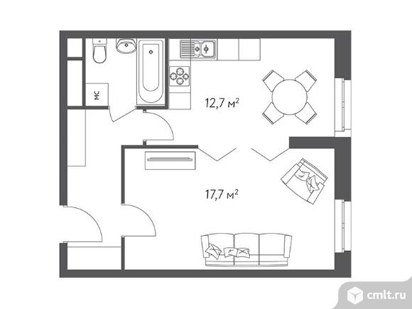 1-комнатная квартира 40,8 кв.м. Фото 1.