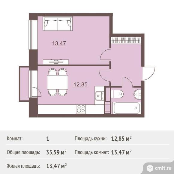 1-комнатная квартира 35,59 кв.м. Фото 1.