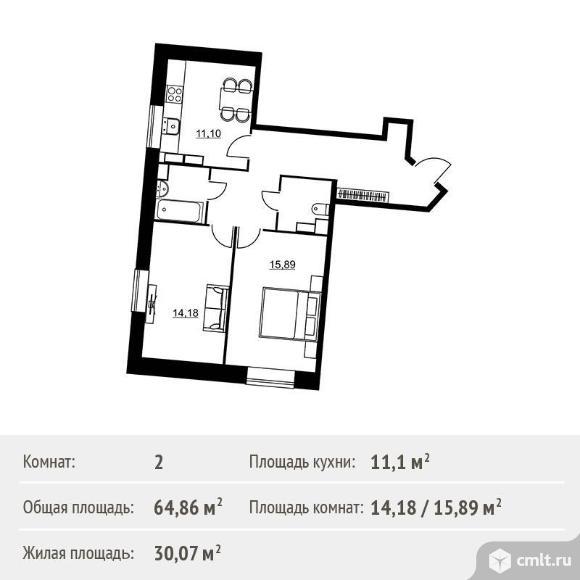 2-комнатная квартира 64,86 кв.м. Фото 1.