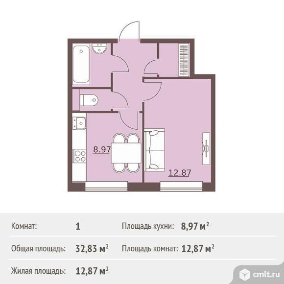 1-комнатная квартира 32,83 кв.м. Фото 1.