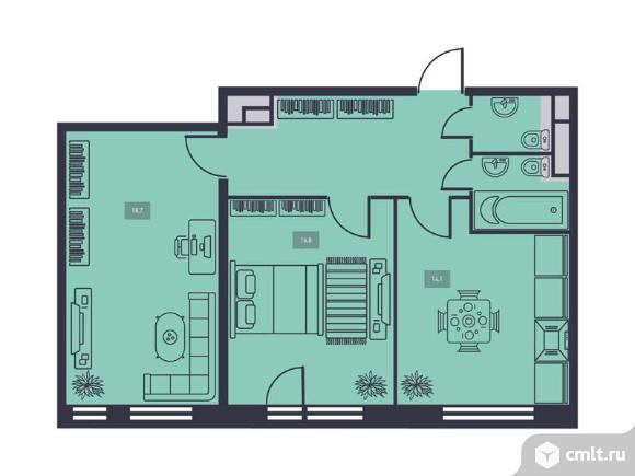 2-комнатная квартира 65,8 кв.м. Фото 1.