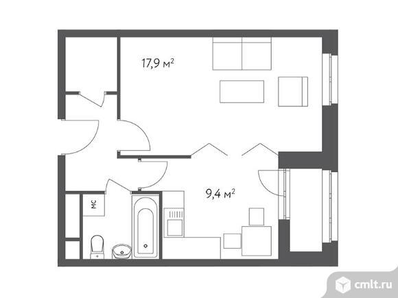 1-комнатная квартира 38,5 кв.м. Фото 1.