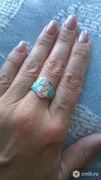 Новое серебряное кольцо с эмалью р. 17,5. Фото 1.