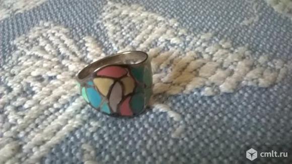Новое серебряное кольцо с эмалью р. 17,5. Фото 5.