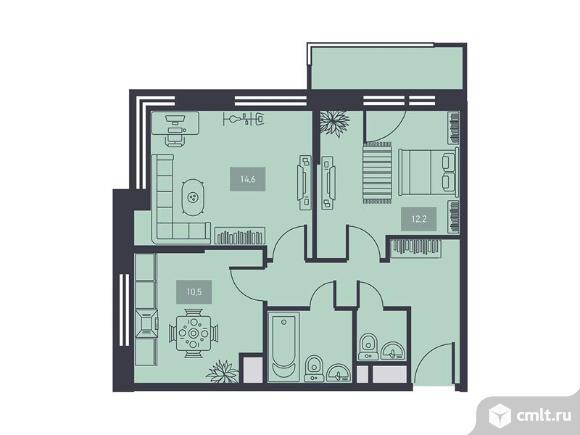 2-комнатная квартира 53,5 кв.м. Фото 1.
