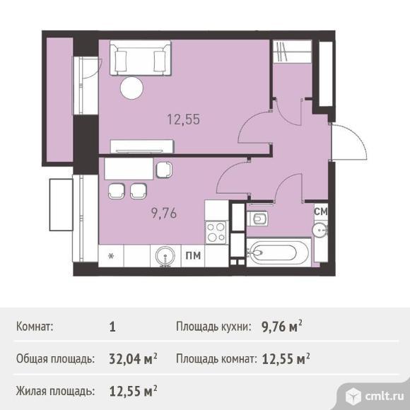 1-комнатная квартира 32,04 кв.м. Фото 1.