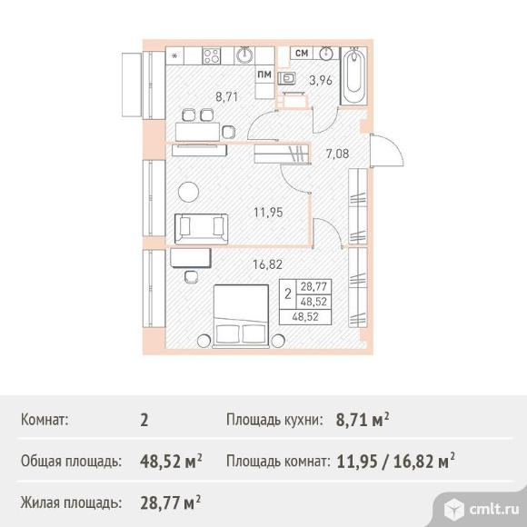 2-комнатная квартира 48,52 кв.м. Фото 1.