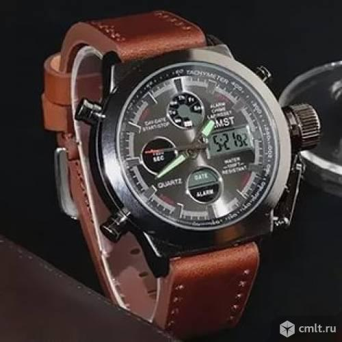 Часы amst 3003 коричневый ремешок. Фото 1.