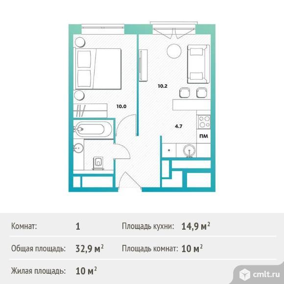 1-комнатная квартира 32,9 кв.м. Фото 1.