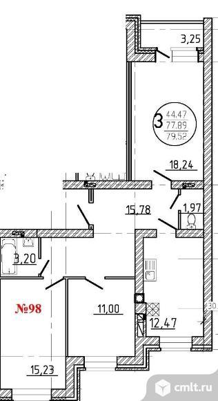 3-комнатная квартира 79,5 кв.м. Фото 1.