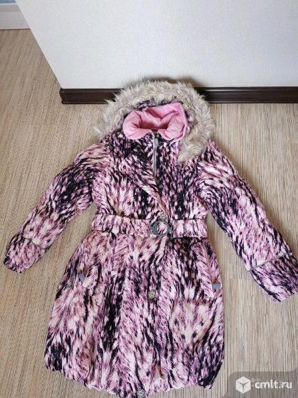 Зимнее пальто для девочки Ленне,140. Фото 1.