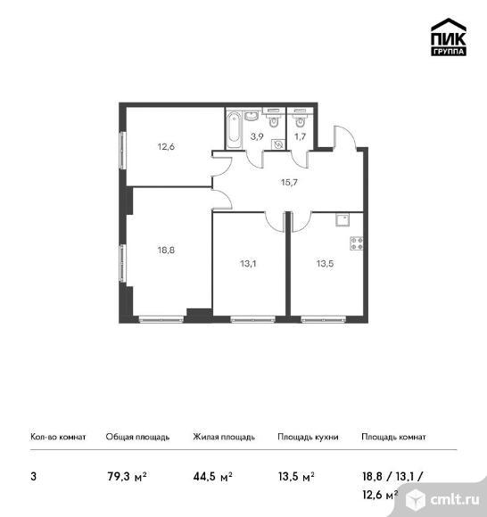3-комнатная квартира 79,3 кв.м. Фото 1.