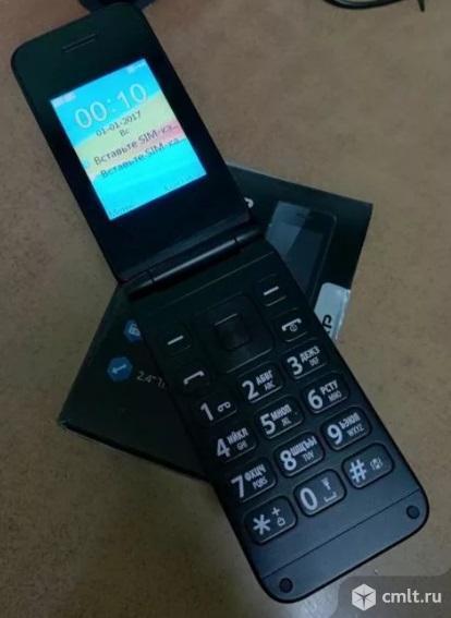Как новая раскладушка сотовый телефон DEXP Larus V6 синий. Фото 1.