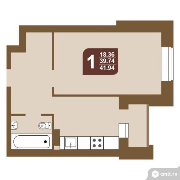 1-комнатная квартира 41,94 кв.м. Фото 1.