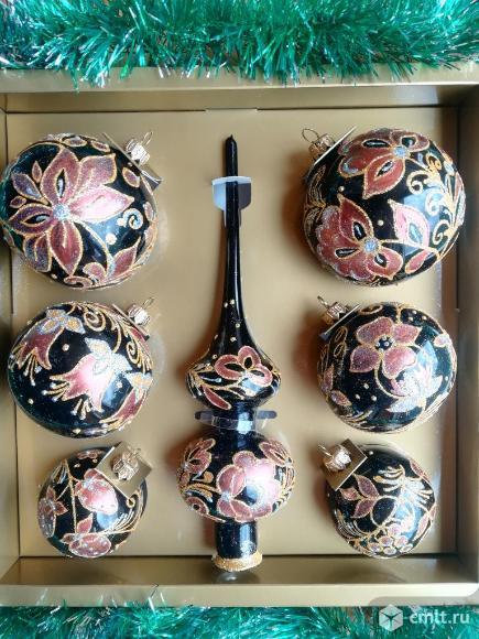 Наборы стеклянных игрушек Шары Макушка Новый год. Фото 1.