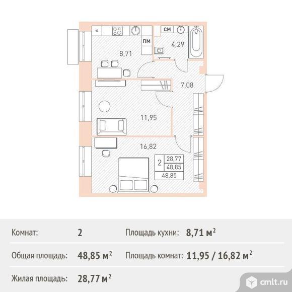 2-комнатная квартира 48,85 кв.м. Фото 1.