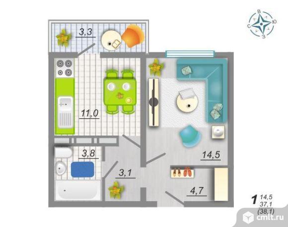 1-комнатная квартира 38 кв.м. Фото 2.