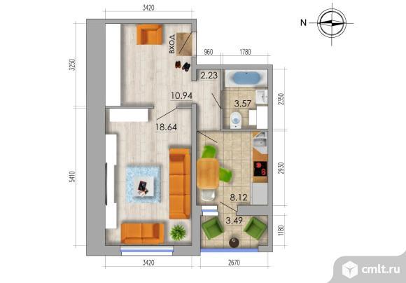 1-комнатная квартира 45,24 кв.м. Фото 1.