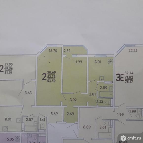 2-комнатная квартира 52,3 кв.м. Фото 1.