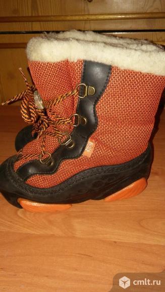 Сапожки, зима, оранжево-черные, очень теплые. Фото 1.