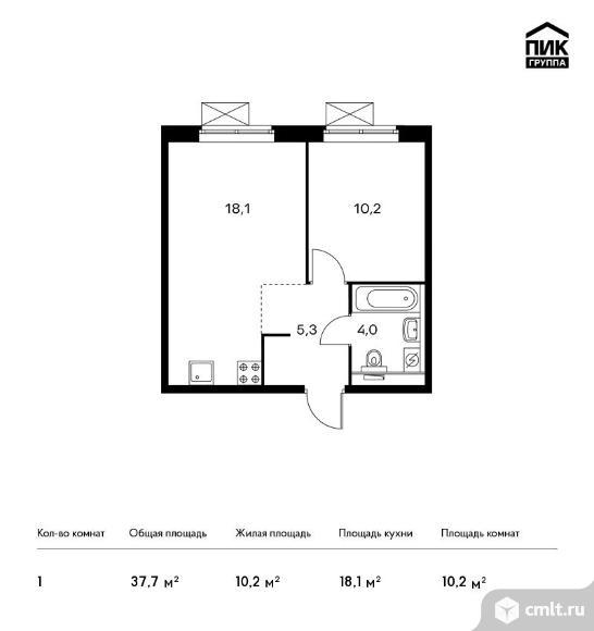 1-комнатная квартира 37,7 кв.м. Фото 1.