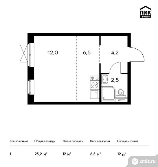 1-комнатная квартира 25,2 кв.м. Фото 1.