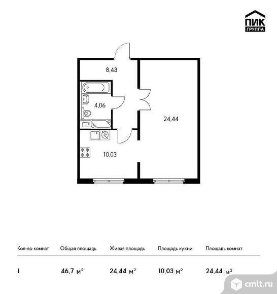 1-комнатная квартира 46,7 кв.м. Фото 1.