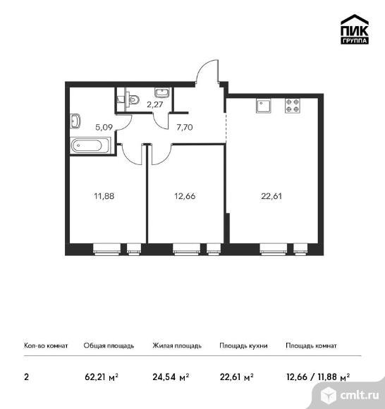 2-комнатная квартира 62,21 кв.м. Фото 1.
