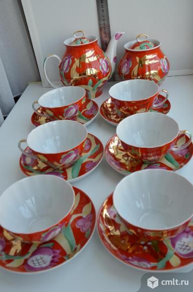 """Дулево. Сервиз чайный форма Белый лебедь """"Золотой олень"""".. Фото 1."""