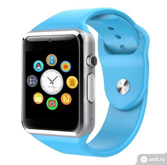 Смарт часы smart watch W8 голубые. Фото 1.