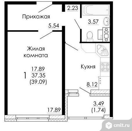 1-комнатная квартира 39,1 кв.м. Фото 2.