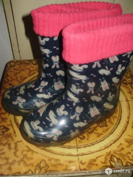 Резиновые сапожки утеплённые.. Фото 1.