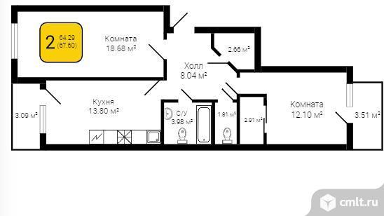 2-комнатная квартира 67,6 кв.м. Фото 1.