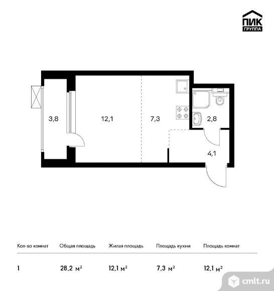 1-комнатная квартира 28,2 кв.м. Фото 1.