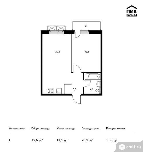 1-комнатная квартира 42,5 кв.м. Фото 1.