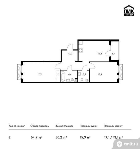 2-комнатная квартира 64,9 кв.м. Фото 1.