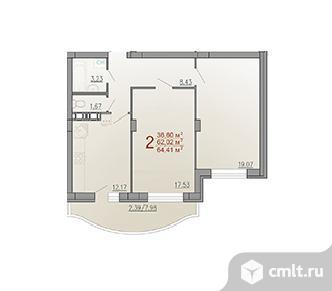 2-комнатная квартира 62 кв.м. Фото 3.