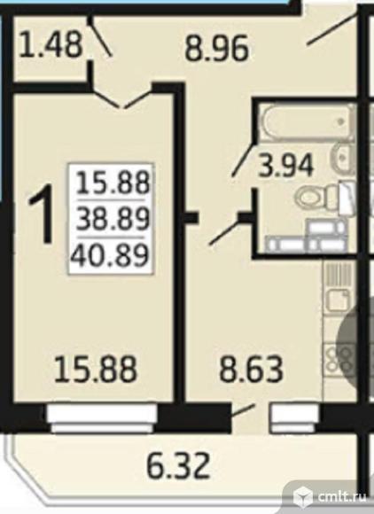 1-комнатная квартира 40,89 кв.м. Фото 1.