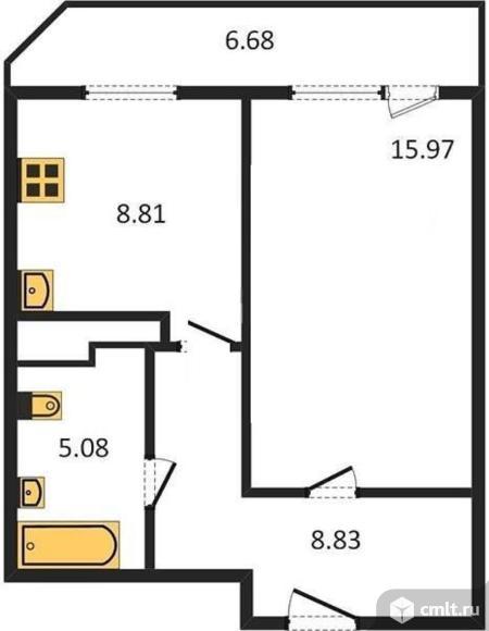 1-комнатная квартира 42,03 кв.м. Фото 1.