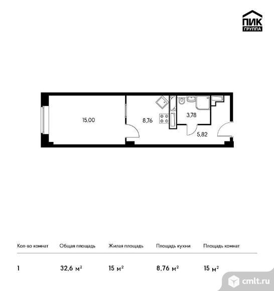 1-комнатная квартира 32,6 кв.м. Фото 1.