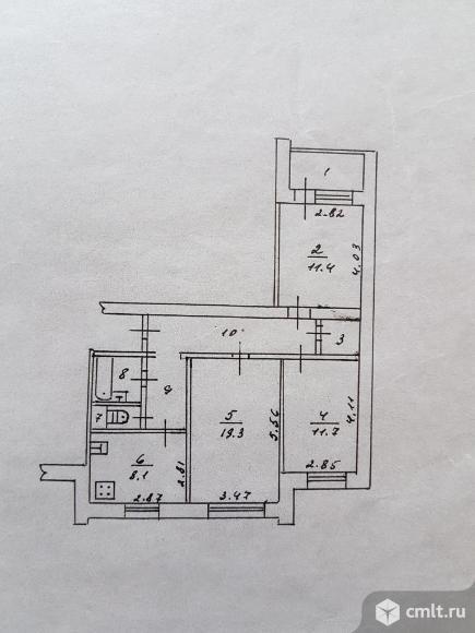 3-комнатная квартира 67 кв.м. Фото 20.