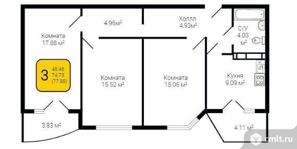 3-комнатная квартира 77 кв.м. Фото 5.
